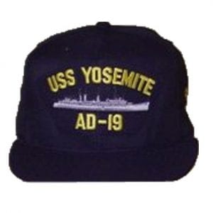 USS Yosemite Black Hat with Ship Silhouette