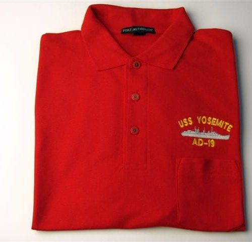 Golf Shirts with pocket with USS Yosemite emblem