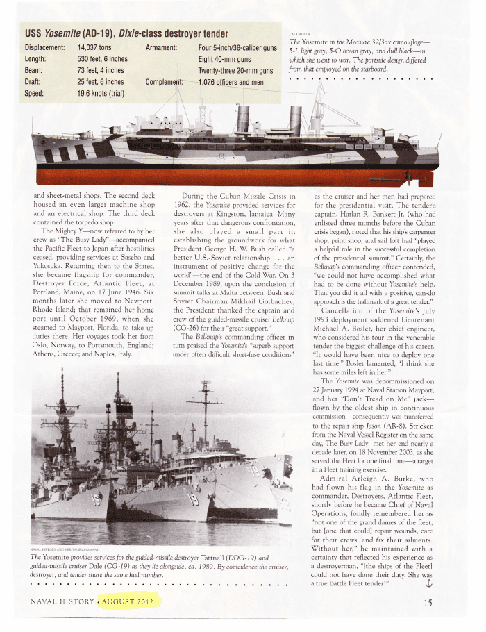 naval history about the uss yosemite