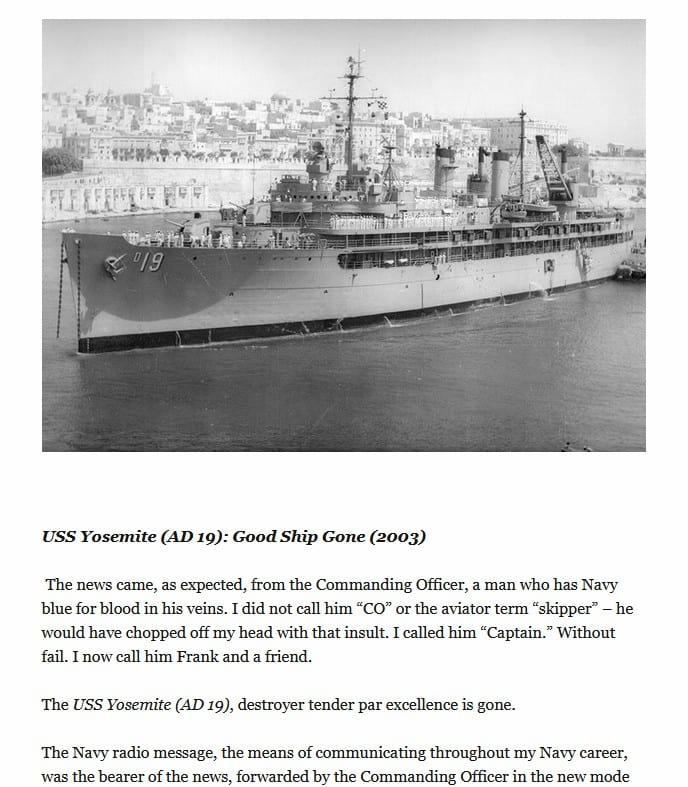 jim jewell story regarding the sinking of the USS Yosemite